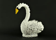 Beautiful white swan origami single, paper made Stock Images