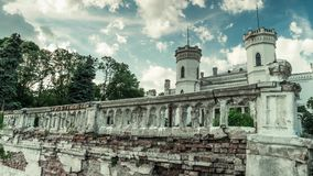 Beautiful White Swan palace in Sharovka, Kharkiv region stock video footage