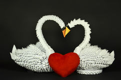 Beautiful white swans origami in love, paper made Royalty Free Stock Image