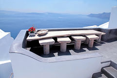 Beautiful white terrace with sea view on Santorini island, Greec Stock Photography