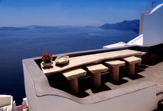 Beautiful white terrace with sea view on Santorini island, Oia, Stock Images