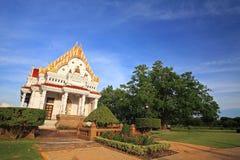Beautiful white Thai temple or monastery at Phutthamonthon Stock Photo