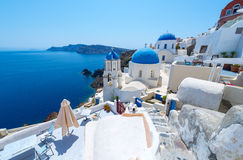 Beautiful White Village Of Oia In Santorini, Greece Royalty Free Stock Photos