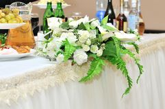 Beautiful white wedding bouquet. On the armchair Stock Images
