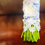 Beautiful white wedding bouquet. Beautiful white and blue wedding bouquet for bride Stock Images