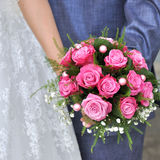 Beautiful white wedding bouquet. With pink roses Royalty Free Stock Photography