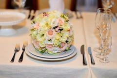 Beautiful white wedding bouquet. On table Royalty Free Stock Photos