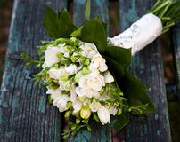Beautiful white wedding bouquet Stock Photo