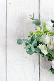Beautiful white wedding bouquet. On wooden board Royalty Free Stock Photos