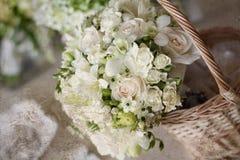 Beautiful white wedding bouquets Stock Photo