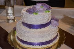 Beautiful white wedding cake stock photo
