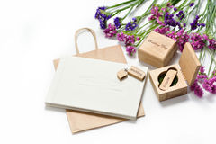 Beautiful white wedding photobook and Usb flash drive in Handmade wooden box. wedding concept Royalty Free Stock Images