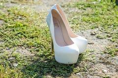 Beautiful White wedding shoes Royalty Free Stock Photo