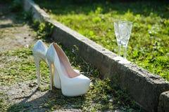 Beautiful White wedding shoes Stock Image