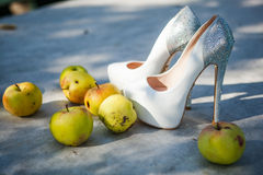 Beautiful White wedding shoes Stock Images
