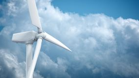Beautiful white windmill on blue sky background stock footage