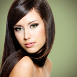 Beautiful white woman with long brown hair Royalty Free Stock Photo