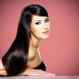 Beautiful white woman with long brown hair Royalty Free Stock Image