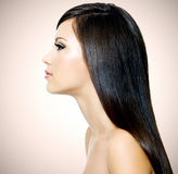Beautiful white woman with long brown hair Stock Photo