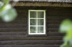 Beautiful White Wooden Window Stock Images