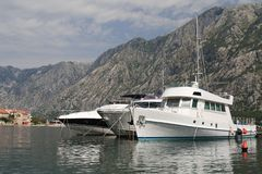 Beautiful white yacht in the Bay of Kotor in Montenegro Royalty Free Stock Image