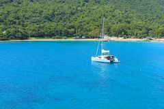 Beautiful white yacht in Kemer Royalty Free Stock Photography