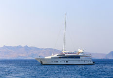 Beautiful white yacht on the sea Stock Photography
