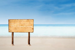 Blank Sign board on beautiful beach Stock Photo