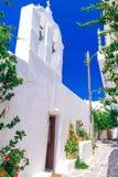 Beautiful whitewashed street in Paroikia Royalty Free Stock Photos