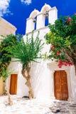 Beautiful whitewashed street in Paros island Stock Images