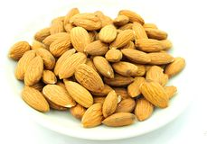 Beautiful Whole Almonds dried fruit for cake and bake Royalty Free Stock Photos