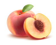 Beautiful whole peach and split  on white Stock Image