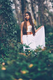 Beautiful wiccan girl, guardian of the mystical forest Royalty Free Stock Photography