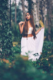 Beautiful wiccan girl, guardian of the mystical forest Royalty Free Stock Image