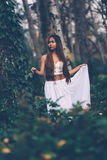 Beautiful wiccan girl, guardian of the mystical forest Royalty Free Stock Photos