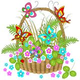 Beautiful wicker basket full of forest plants. Delicate flowers, charming butterflies flutter over them. Vector illustration stock illustration