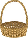 Beautiful wicker basket. Handmade. For shopping, transportation of products for a picnic. Convenient to collect mushrooms, berries royalty free illustration