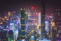 Beautiful wide-angle night aerial view of Guangzhou Zhujiang New Town financial district, Guangdong, China with skyline and scener. Y beyond the city, seen from royalty free stock images