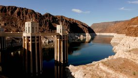 Beautiful wide angle shot of Hoover Dam in 4k. Video clip stock video