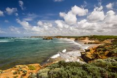 Beautiful wide angle view of the coastline at Bay Of Martyrs along the Great Ocean Road Royalty Free Stock Photography