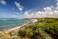 Beautiful wide angle view of the coastline at Bay Of Martyrs along the Great Ocean Road Royalty Free Stock Image
