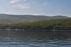 Beautiful wide landscape of Istria in Croatia. Beautiful wide landscape at the sea of Istria in Croatia suring summer stock photos