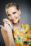 Beautiful wide smile of young fresh woman. Royalty Free Stock Photo