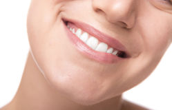 Beautiful wide smile of young woman. Closeup photo Stock Photography