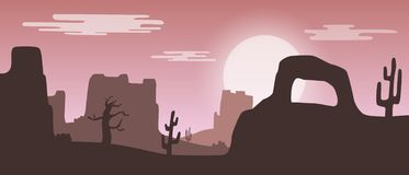 Beautiful widescreen pink sunset desert landscape with sandstone mountains and cactus plants vector illustration