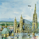 Beautiful Wien city painting pattern on napkin Royalty Free Stock Photos