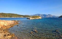 Beautiful wild beach. On Grrek island Poros Stock Photos