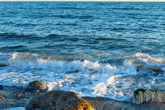 Beautiful wild beach with azure sea, waves on the shore in Tuscany, Italy. Sunny day at the beach stock images
