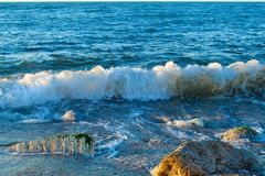 Beautiful wild beach with azure sea, waves on the shore in Tuscany, Italy. Sunny day at the beach stock photos