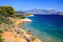Beautiful wild beach on Greek island Royalty Free Stock Photo